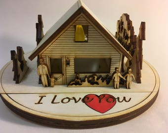 L - Americas Cabin Greetings with a LED LIGHT : I Love You