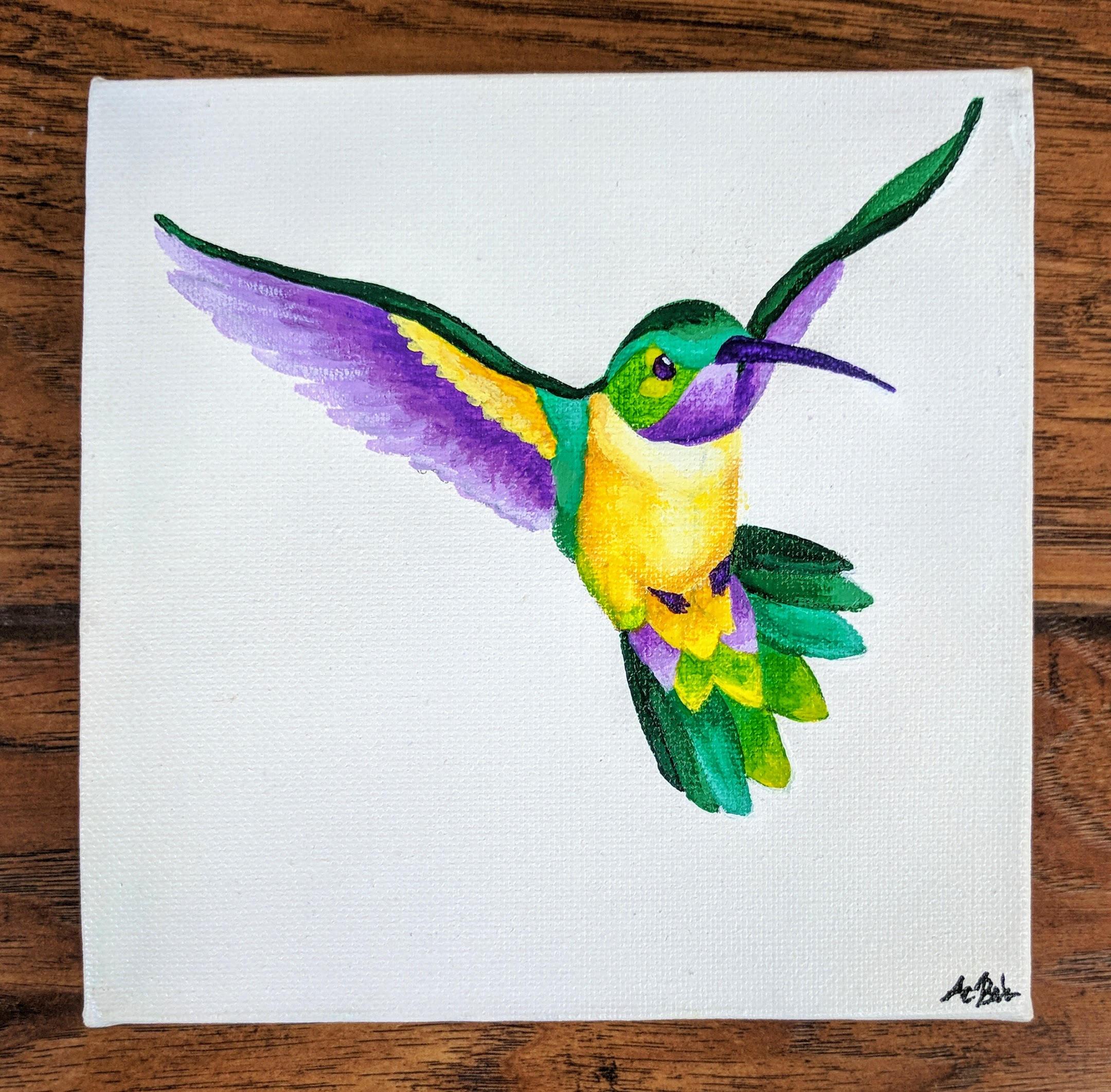Hummingbird painting fine art original acrylic painting