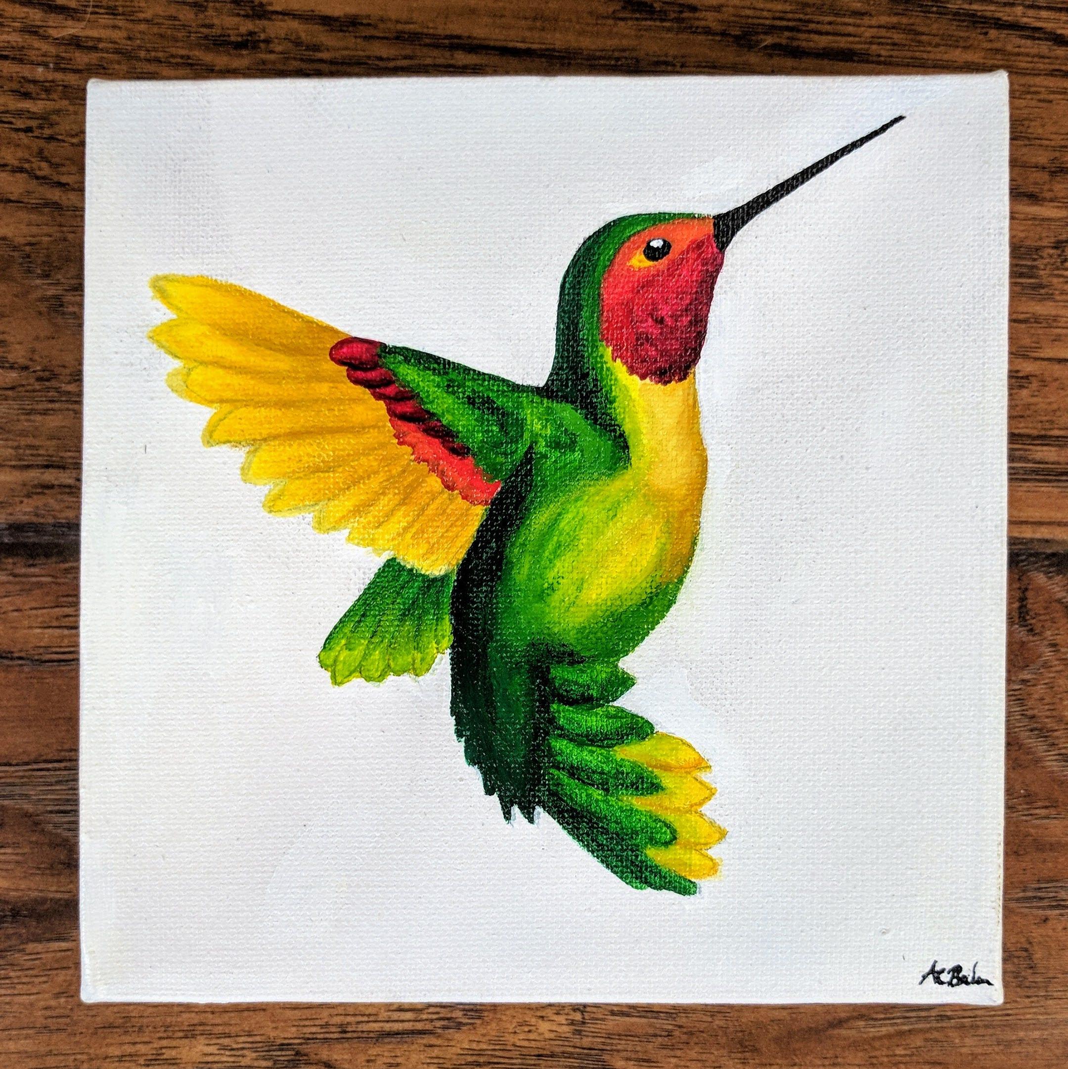 Hummingbird painting fine art original acrylic painting | Etsy