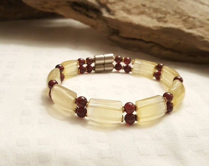 Citrine and Garnet bracelet pewter accent and a strong magnetic clasp