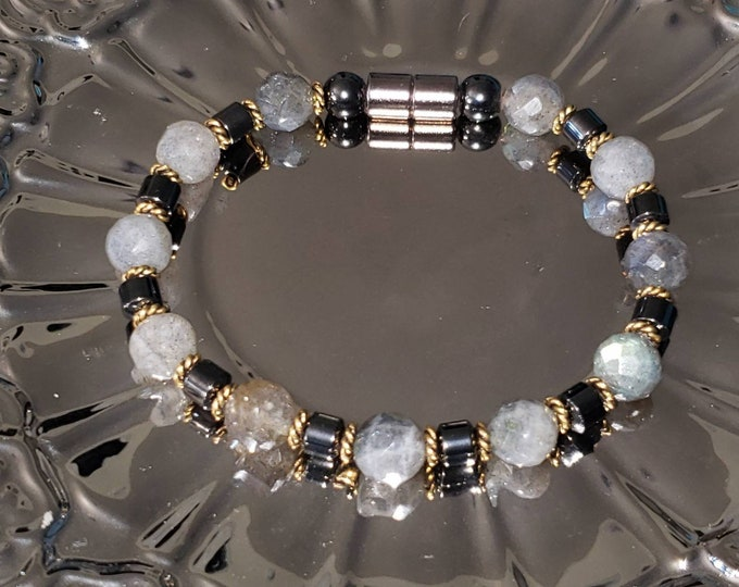 Labradorite and magnetite and hematite bracelet