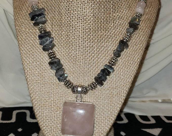 Labradorite and Rose Quartz necklace