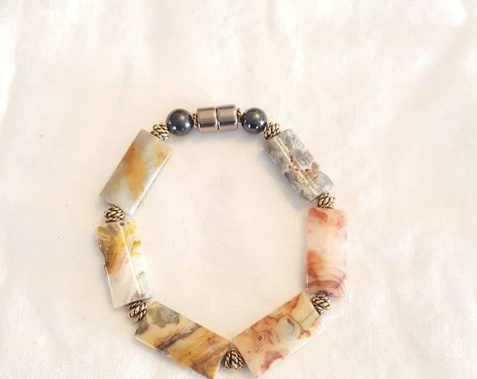 Crazy Lace Agate magnetic bracelet