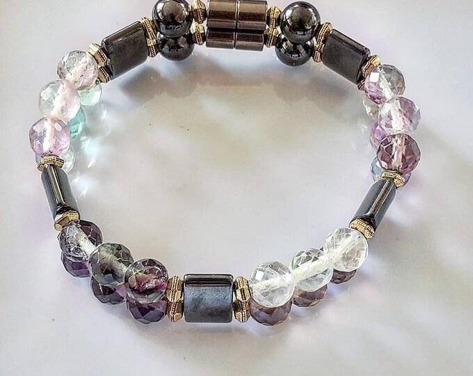Fluorite Magnetized hematite bracelet