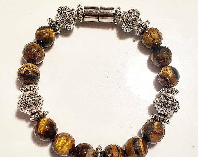 Faceted Tiger's eye Magnetic bracelet