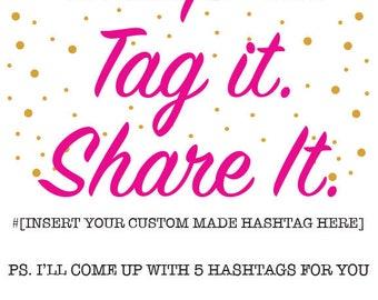 Custom Event Hashtag - 5 Options plus sign