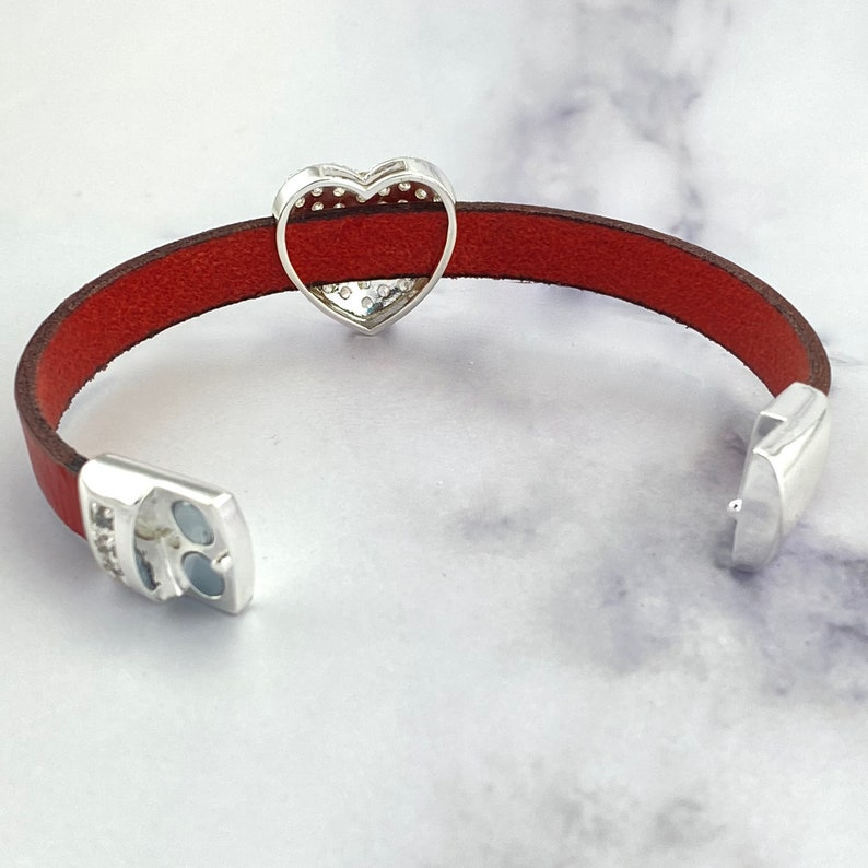 Gift for Her red leather bracelet pave cz magnetic clasp Pave CZ Heart charm bracelet Valentine/'s Day bracelet CZ Heart bracelet