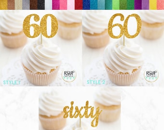 Age 60 big birthday celebration cupcake toppers sixty