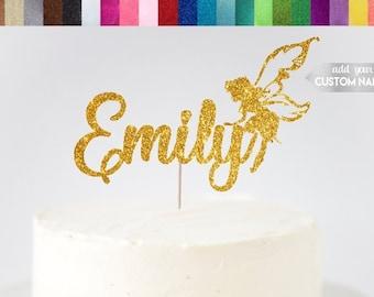 Fairy Cake Topper, Custom Fairy Cake Topper, Name Fairy Cake Topper, Fairy Party Decor, Whimsical Cake Topper, Glitter Fairy Decor, Birthday
