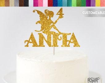 ANY NAME & AGE Fairy Cake Topper, Custom Fairy Cake Topper, Name Fairy Cake Topper, Fairy Party Decor, Whimsical Cake Topper, Fairy Birthday