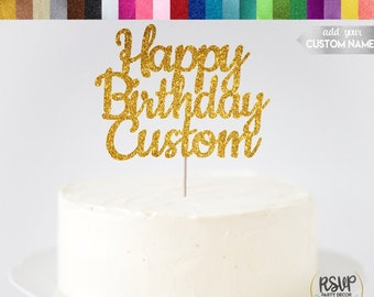 Custom Happy Birthday Cake Topper Name Personalized Decorations