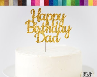 Happy Birthday Dad Cake Topper Sign Decorations Party Ideas Father
