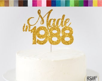 Made In 1988 Cake Topper 31st Birthday Anniversary Sign Established Decorations