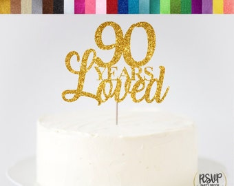 90 Years Loved Cake Topper 90th Birthday Decorations Glitter Centrepieces