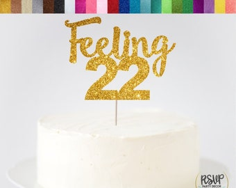 Feeling 22 Cake Topper 22nd Birthday Twenty Two T Swift Decor Taylor Years Old Glitter