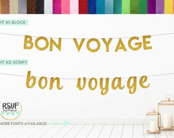 Bon Voyage Banner Going Away//Moving Away//Retirement//Farewell//Adventure Awaits Party Sign Decorations Gold Gliter Paper Sign