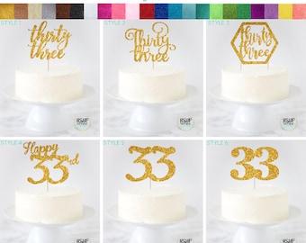 Thirty Three Cake Topper 33 Thirtythree Happy 33rd Birthday Decor Decorations Anniversary
