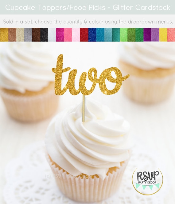 Two Cupcake Toppers Food Picks 2 2nd Birthday Party Decorations Glitter