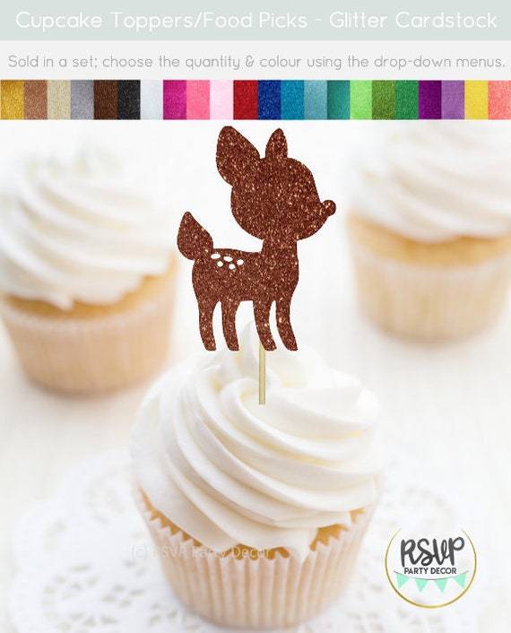 Baby Deer Cupcake Toppers Fawn Cupcake Toppers Woodland