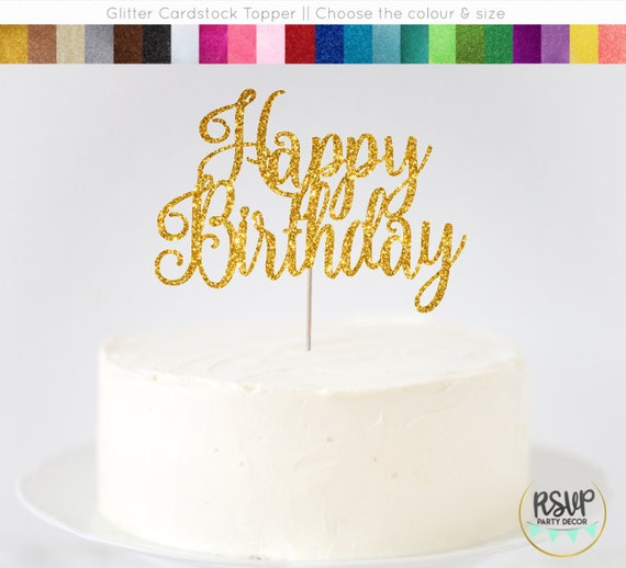 Happy Birthday Cake Topper Sign Glitter Decorations Centrepiece Decor
