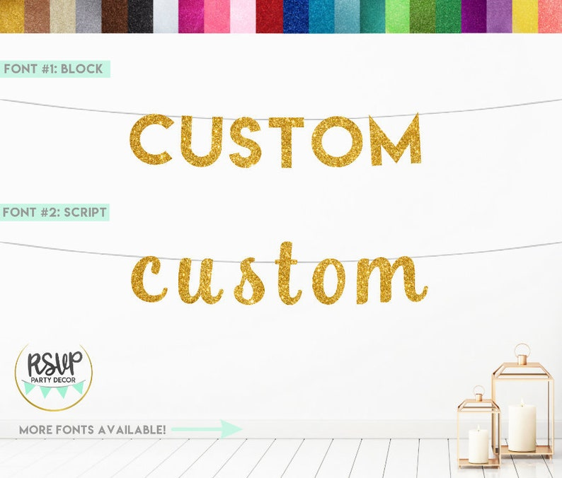 Custom Glitter Banner Custom Party Decorations Custom image 0