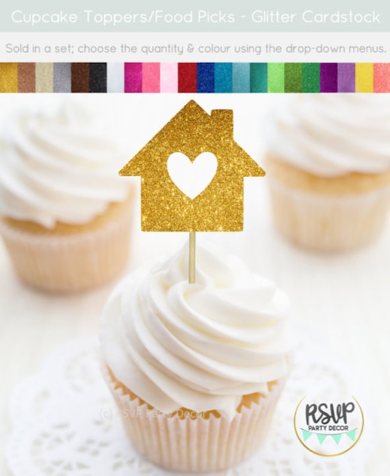 House Cupcake Toppers Home Food Picks Housewarming Party Etsy