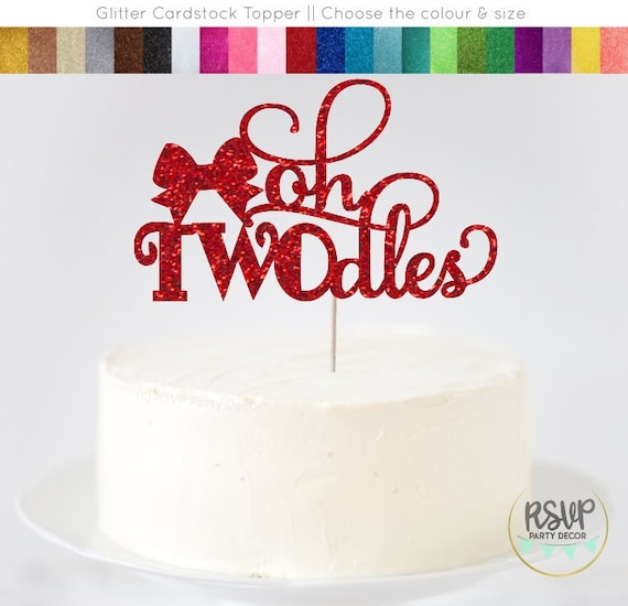Phenomenal Oh Twodles Cake Topper Cute Second Birthday Cake Topper Bow Cake Funny Birthday Cards Online Alyptdamsfinfo