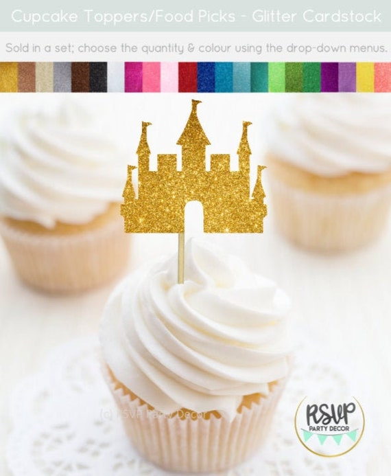Pleasing Castle Cupcake Toppers Glitter Castle Food Picks Princess Party Funny Birthday Cards Online Inifofree Goldxyz