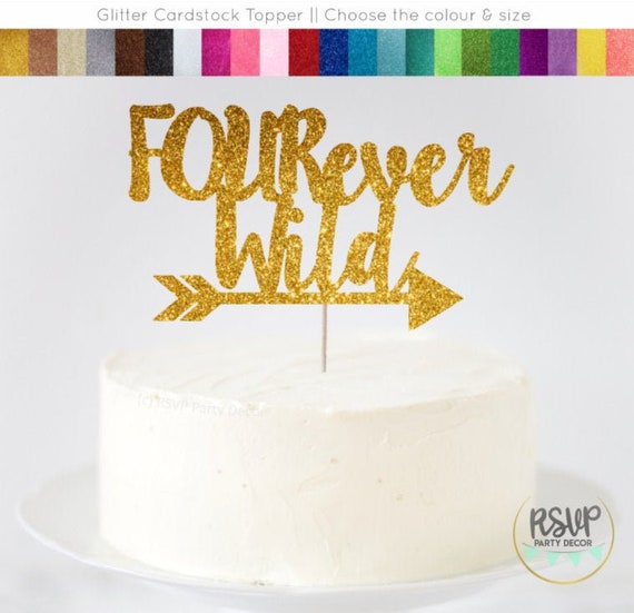 Pleasing Fourever Wild Cake Topper Four Ever Wild Cake Topper 4Th Funny Birthday Cards Online Sheoxdamsfinfo