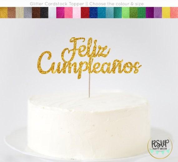 Awesome Feliz Cumpleanos Cake Topper Spanish Happy Birthday Cake Etsy Funny Birthday Cards Online Inifodamsfinfo