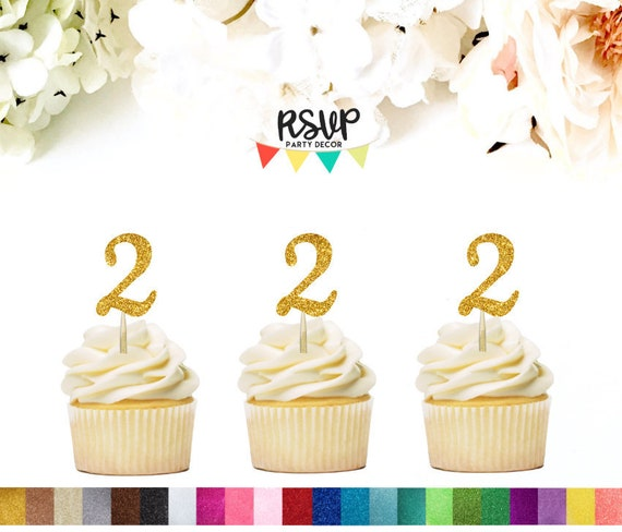 2 Cupcake Toppers Two Food Picks 2nd Birthday