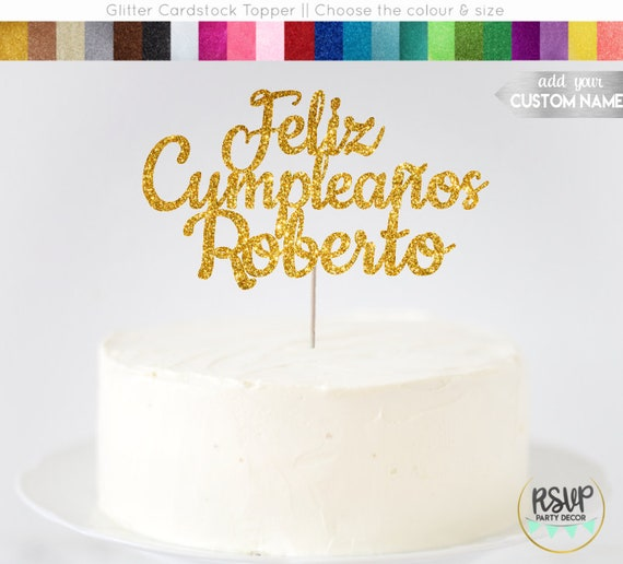 Happy Birthday cake topper pretty Glitter Personalised Customised custom