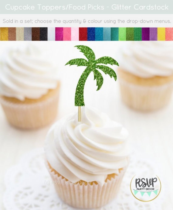 Palm Tree Cupcake Toppers Palm Tree Party Decorations Tropical