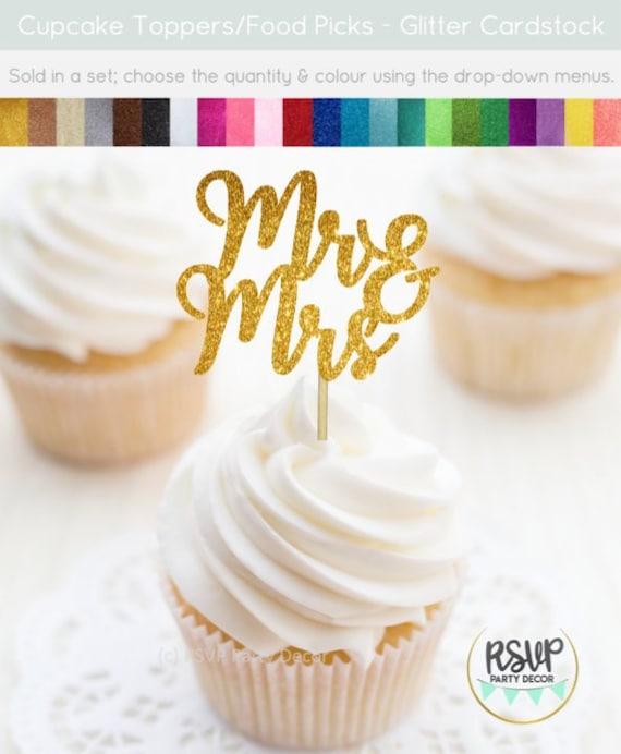 Cupcake Toppers Wedding Decor Mr Wedding /& Mrs Bridal Shower Cupcake Toppers Engagement Cupcake Toppers