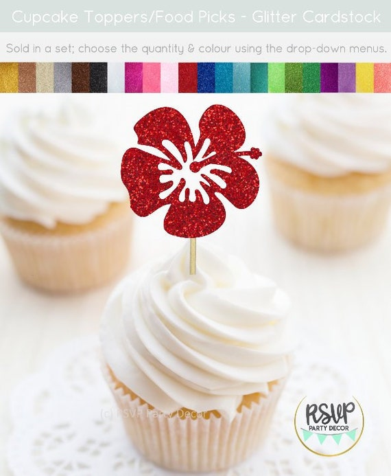 Hibiscus Flower Cupcake Toppers Tropical Flower Food Picks