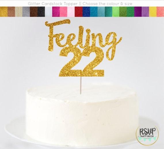 Feeling 22 Cake Topper 22nd Birthday Twenty Two T Swift Decor Taylor Years Old Glitter