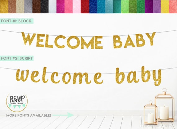 Welcome Baby Banner Welcome Baby Sign Baby Shower Banner Baby Shower Decorations Welcome Baby Bunting Baby Announcement Glitter Banner By Rsvp Parties And Events Catch My Party