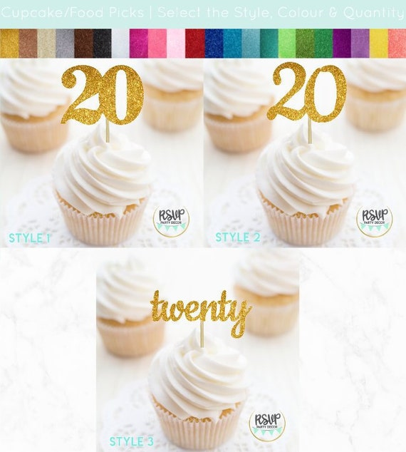 Number 20 Cupcake Toppers Twenty Food Picks 20th Birthday Decorations Anniversary Party Glitter