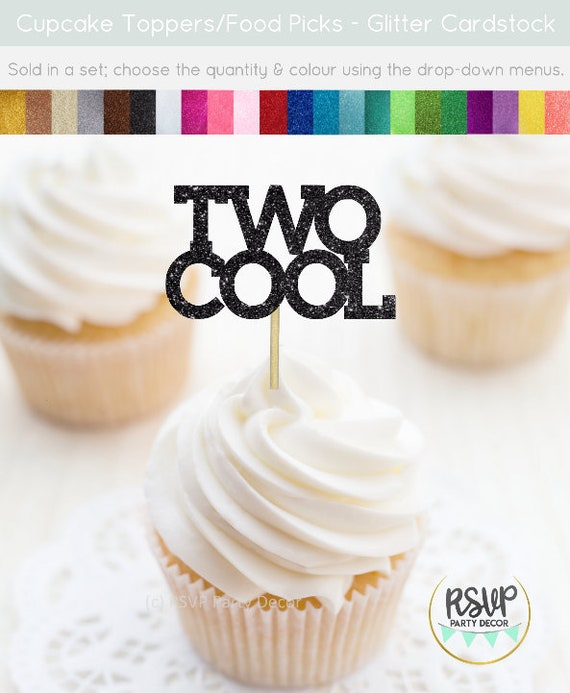 Two Cool Cupcake Toppers Party Decorations 2nd Birthday Second