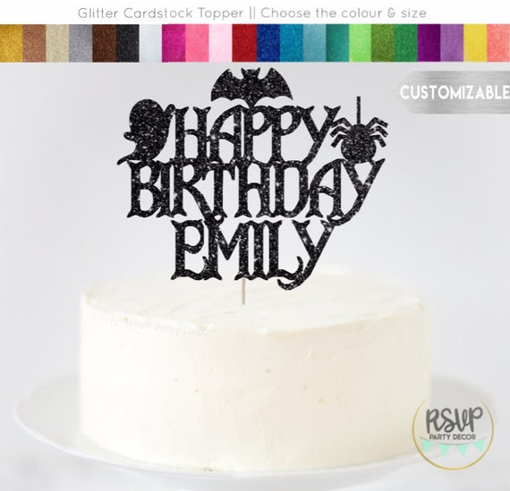 Pleasing Halloween Themed Birthday Cake Topper Personalized Happy Birthday Funny Birthday Cards Online Barepcheapnameinfo