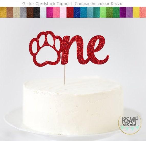 Terrific Paw One Cake Topper Dog 1St Birthday Cake Topper Puppy Themed Funny Birthday Cards Online Necthendildamsfinfo