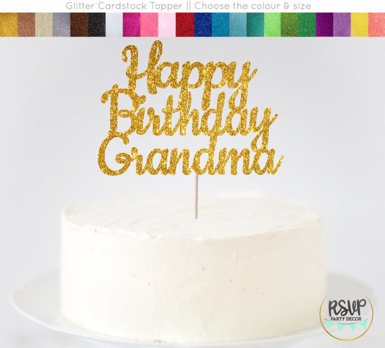 Happy Birthday Grandma Cake Topper Sign
