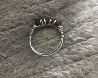 Matte Brown Wire Wrapped Ring