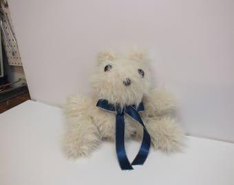 white faux fur teddy bear