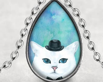 Peeking Cat Pendant, Gift For Cat Lover, Cat Necklace, Cat With Top Hat, Photo Jewelry, Glass Cabochon Lucas