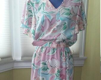 80s PELLINI Pastel Floral Dress Size 9/10