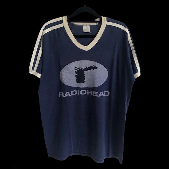 Vintage Radiohead Tour Navy Blue Football Style T-