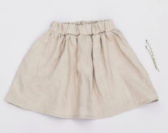 Girl's linen skirt - 100% washed linen