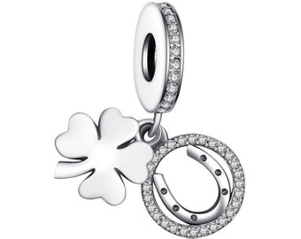 5421b03c6 4 Leaf Clover Charm - Pandora Clover Charm - 925 Sterling Silver Charms -  Anniversary Gifts - fit Pandora Bracelets