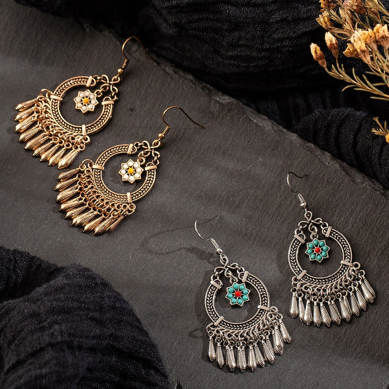 Vintage Ethnic Tassel Hanging Dangle Drop Earrings for Women Female Anniversary Party Wedding Jewelry Ornaments Accessories